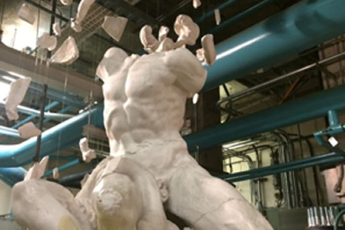 "Installation of our broken cast of the Laocoön in Cornell's Weinhold Chilled Water Plant, as part of the exhibition ""Firing the Canon: The Cornell Casts and their Discontents."""