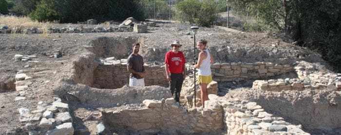 Graduate students with Prof. Manning working at the site of Kalavasos Ayios Dimitrios in Cyprus.