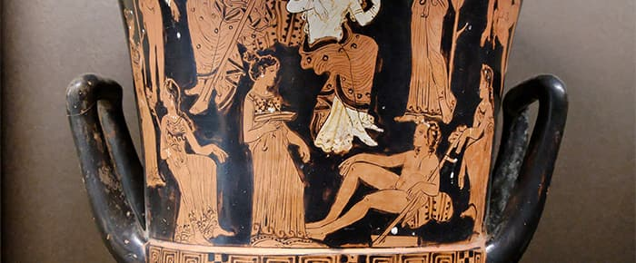 Red-figure Southern Italian vase depicting Dionysiac scene.